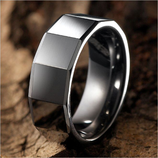 Modern RnB Mens Tungsten Ring Wedding Band 8mm Silver | RnBJewellery