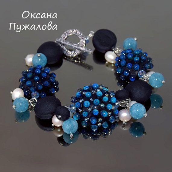 Black Bracelet for women Gift for mother beaded by OxanaPuzhalova