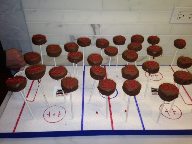 Hockey Themed Cake Pop Display