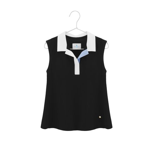 Black cropped cotton top with a collar