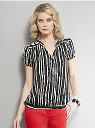 Smocked Button-Front Striped Blouse