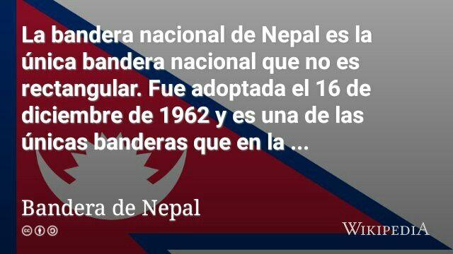 Bandera de Nepal, la unica no cuadrangular del mundo.