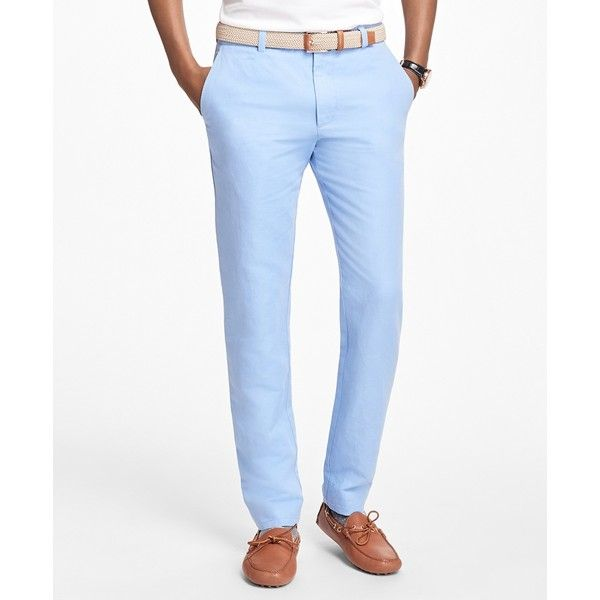 Brooks Brothers Milano Fit Linen and Cotton Chinos ($96) ❤ liked on Polyvore featuring men's fashion, men's clothing, men's pants, men's casual pants, light blue, mens flat front dress pants, mens chinos pants, mens linen pants, mens light blue dress pants and mens casual linen pants