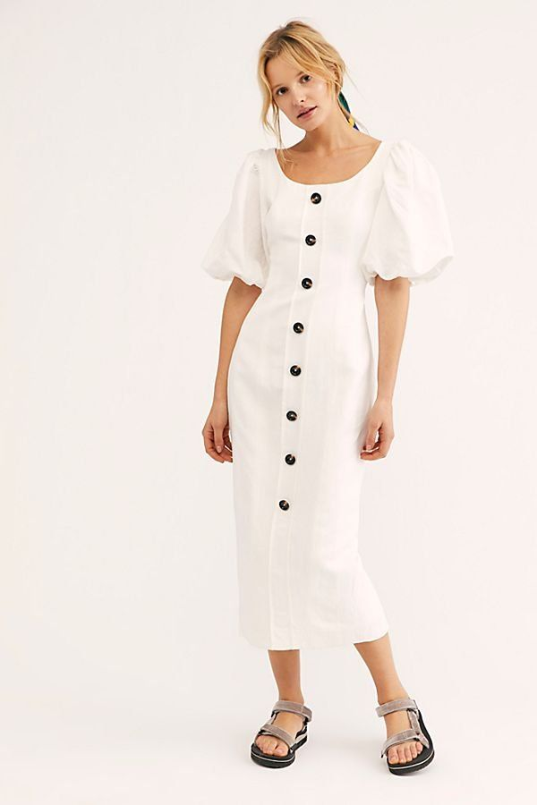 c350ef6d50 Gaia Fitted Midi Dress - White Button Front Midi Dress with Puff Sleeves -  Puff Sleeved Midi Dress - White Puffy Sleeve Dress - Chic White Dresses -  Spring ...