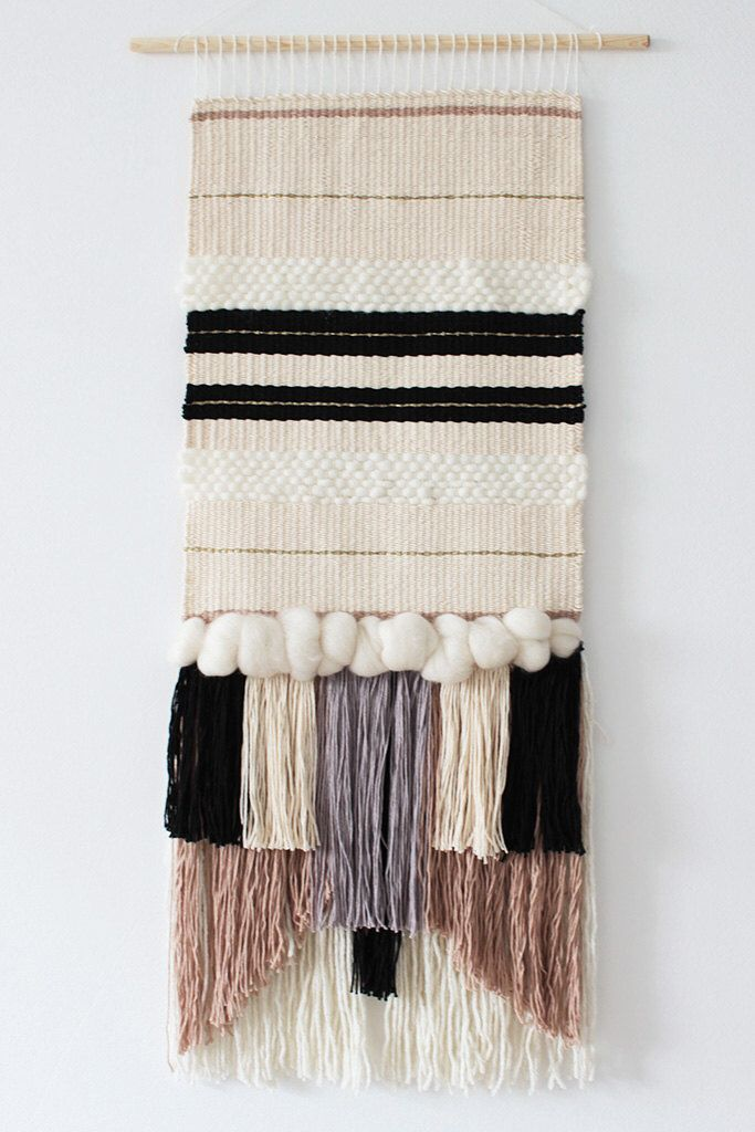 Woven wall hanging | Wall tapestry | Wall decor | Home decor | Wall weaving ivory, cream, grey, black, beige | Fiber art by weavingmystory on Etsy https://www.etsy.com/listing/268360814/woven-wall-hanging-wall-tapestry-wall