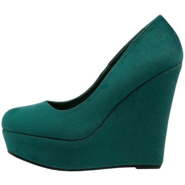 Even&Odd Wedges dark (120 BRL) ❤ liked on Polyvore featuring shoes, green, high heel shoes, green platform shoes, platform shoes, green wedge shoes and platform slip on shoes