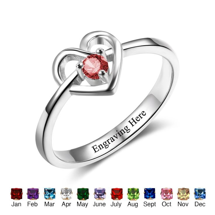 Express your love with this stunning gemstone heart design promise ring! Elegant and stylish!