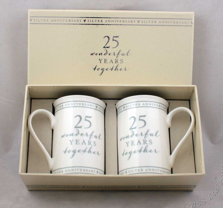 Show Details For 25th Anniversary Gift Set Of 2 China Mugs