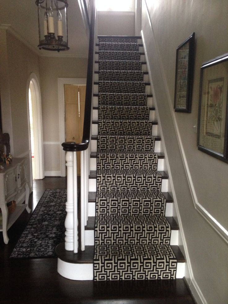 It took months for me to pick out our stair runner. I wanted an animal print at first but after finding this geometric print I knew that this was the one for me!! On the stairs it looks fresh, understated and gives our entry the updated boost it needed. Greek key foyer