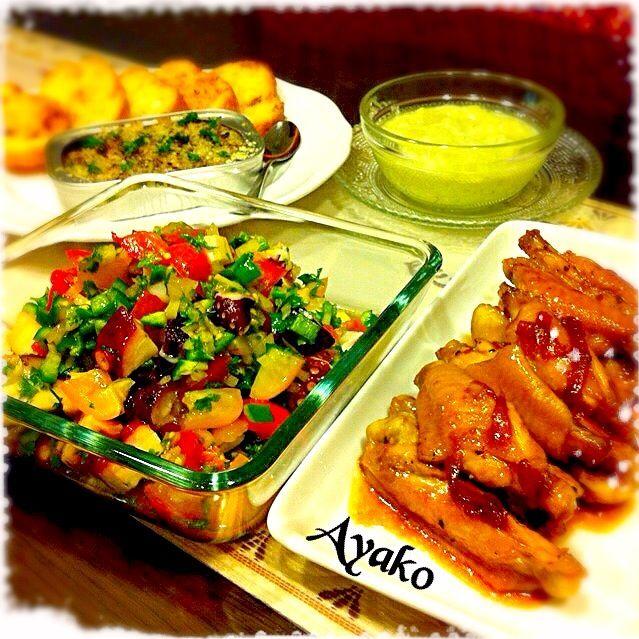 今日は、時間無くて簡単に作れる物ばかり(^^;;殆ど火を使わずに作れるのが、嬉しいですね〜(*^^*) - 144件のもぐもぐ - タコとトマトのサラダ、手羽中のママレード煮、きゅうりのガスパチョ、オイルサーディンのブルスケッタ by ayako1015