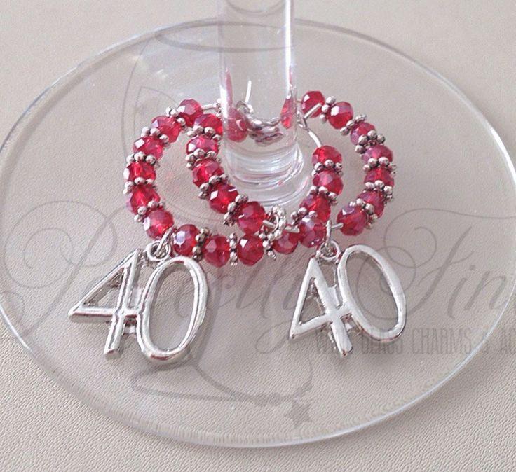 40th Ruby Wedding Anniversary Wine Glass Charms. 40th Wedding Anniversary. Ruby Wedding. 40 years. - pinned by pin4etsy.com