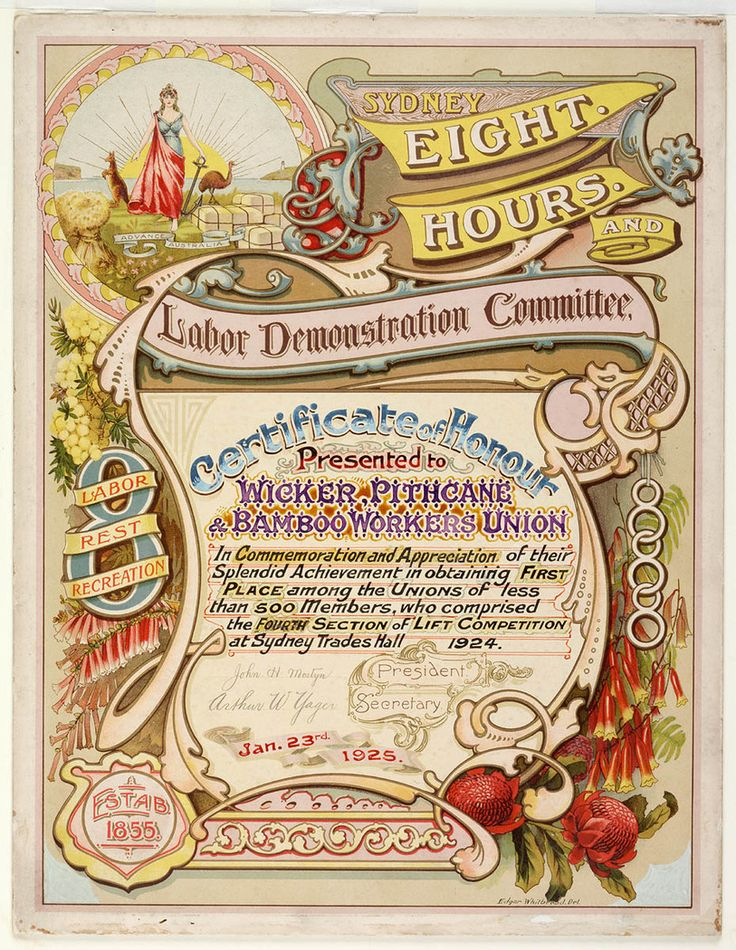 Certificate presented by the Sydney Eight Hours & Labor Demonstration Committee to the Wicker, Pithcane, & Bamboo Workers Union, 1925. Mitchell Library, State Library of New South Wales: http://www.acmssearch.sl.nsw.gov.au/search/itemDetailPaged.cgi?itemID=430870
