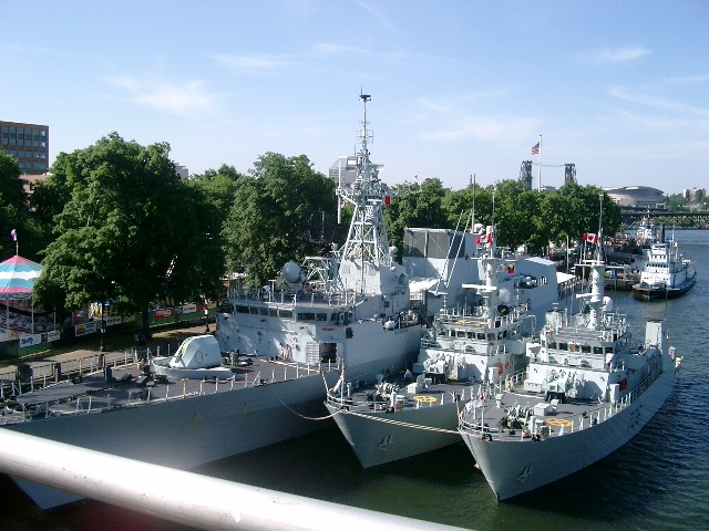 Naval ships coming into Portland for Fleet Week and Rose Festival celebration.