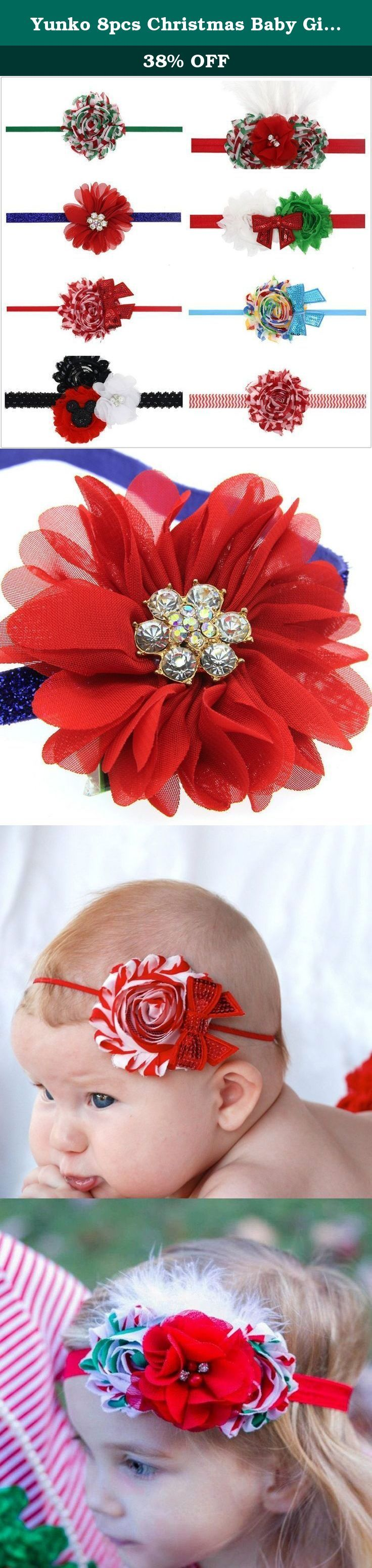 """Yunko 8pcs Christmas Baby Girl's Elastic Headbands Bow Princess Hairband, Green Red and White. Best Gift Choice for any newborn infants toddlers boy and girls These headbands are absolutely beautiful! High quality, elegant, and with so many colors to choose from, they add a touch of class to any outfit! Click """"Add to Cart"""" to buy now! ."""