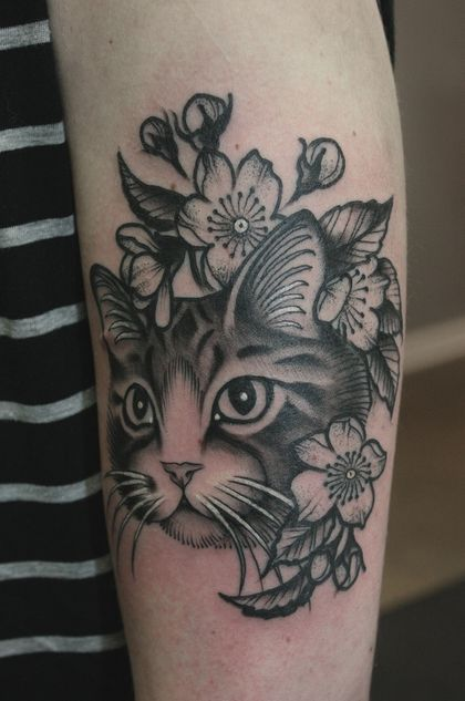 Chalupa the cat. My first Baylen Levore tattoo at Heart of Gold in Hendersonville NC