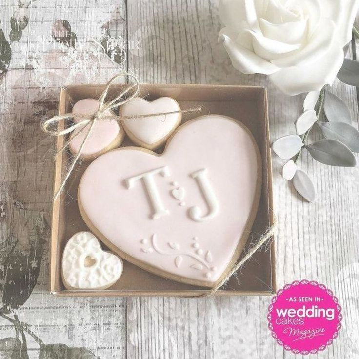 Our personalised wedding cookie favours featured in Wedding Cakes Magazine Autum…