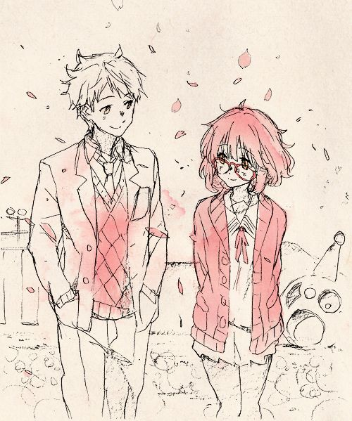 anime, kyoukai no kanata, and pink image
