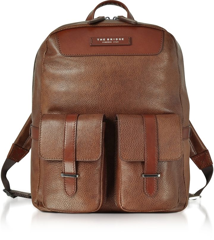 The Bridge Brown Leather Backpack w/Two Front Pockets