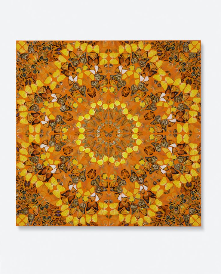 """Damien Hirst--""""Pardon""""  2007  Butterflies and household gloss on canvas  36 x 36 in."""