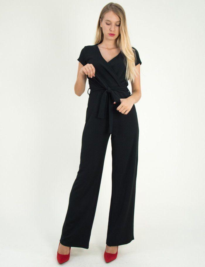 af77f9f3e65 Γυναικεία μαύρη ολόσωμη φόρμα κρουαζέ Benissimo 47152Q #τορούχο ...