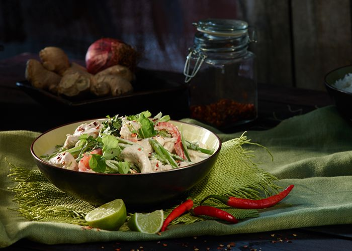 Try something different and substitute rice for noodles with a creamy Chicken and Vegetable Green Curry.