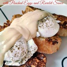 Tomato Parmesan Pain Perdu with Poached Eggs and Rarebit Sauce