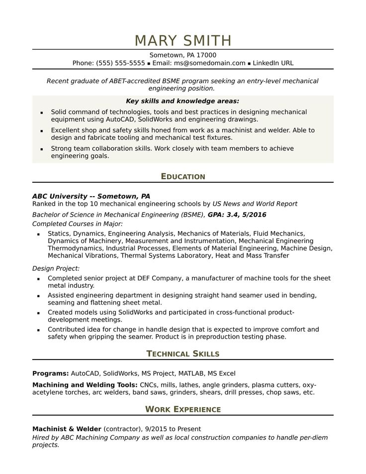 Mechanical Engineering Resume Templates Favored Sample
