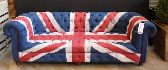 Union Jack sofa | http://hdbuttercup.com/blog/superbowl-sofa-picks | Home  decor | Pinterest | Tufted sofa, Interiors and House