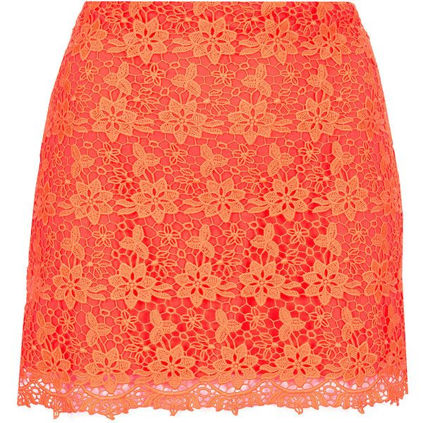 TOPSHOP Fluro Orange Lace Pelmet Skirt ($80) ❤ liked on Polyvore