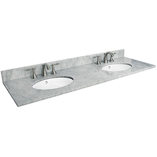 "61"" Marble Top - Double Undermount Sinks - One Faucet Hole s - Polished Carrara Signature Hardware http://www.amazon.com/dp/B0034045RM/ref=cm_sw_r_pi_dp_rjK.ub0BG51JP"