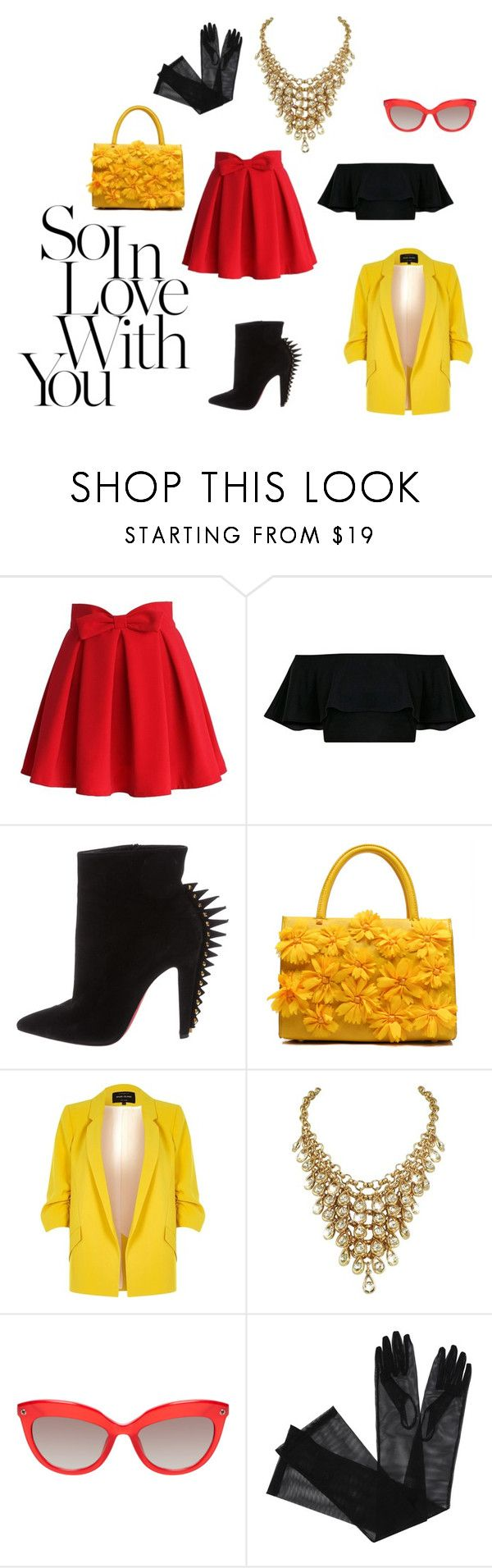 """""""So in Love with you"""" by nerdygets on Polyvore featuring moda, Chicwish, Christian Louboutin, River Island i Gucci"""
