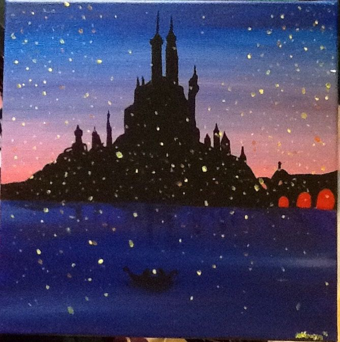 Tangled Lantern Scene Painting by TheColorsOfMyBrush on Etsy https://www.etsy.com/listing/245605153/tangled-lantern-scene-painting