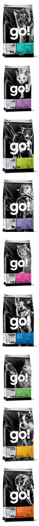 Petcurean's GO! Lineup for dogs and cats.    Created to put more life into your pet. GO! is nutrient-rich and energy packed; a true fitness food for everyday dogs and cats, plus those with special dietary needs.