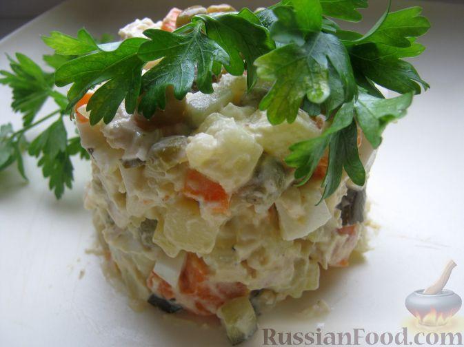 Продукты(на 8 порций)Картофель - 2-3 шт.Куриное филе - 300 гОгурцы маринованные - 2-3 шт.Морковь - 1-2 шт.Яйца куриные - 4-6 шт.Лук репчатый - 1 шт.Горошек зеленый (консервированный) - 200 гМайонез - 250 гСоль - по вкусуПерец - по вкусу