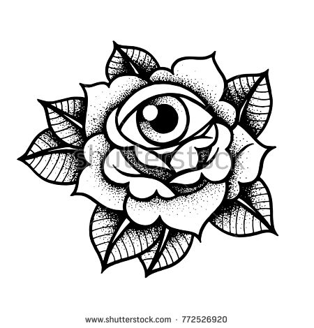 Old school rose tattoo with eye. Traditional black dot style ink. Isolated vector illustration. Traditional Tattoo Flowers Set Old School Tattooing Style Ink Roses
