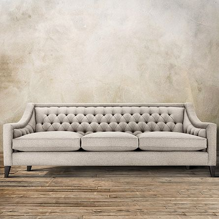 "Bring the glitz of Old Hollywood to your home with the Arhaus Rylan Tufted Upholstered 92"" Sofa in Taranto Dove. Handcrafted in America!"
