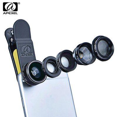 APEXEL APL - DG5 5 in 1 Camera Phone Lens Kit 198 Degree Fisheye 0.65X Wide Angle 15X Macro 2X Telephoto Polarizer