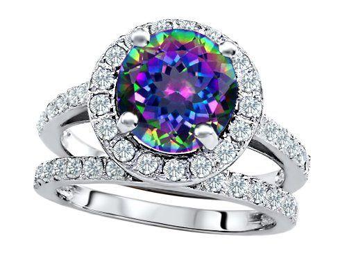 Unique Engagement Wedding Ring Sets Tahitian Black Pearl Cubic Zirconian