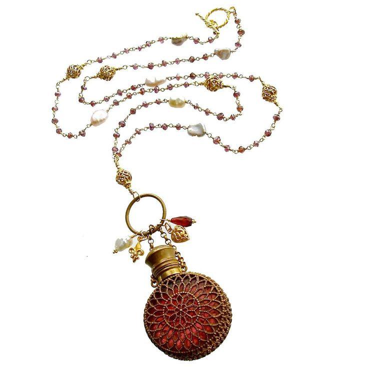 Mystic Garnet Keshi Pearls Cranberry Glass Chatelaine Scent Bottle Necklace…