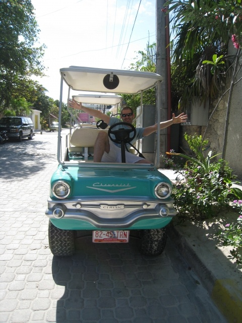 """Riding in a """"Cadillac"""" in Isla Mujeres! Visit our blog for more pics & article! http://www.a1djs.com/a1djs-a-isla-mujeres-mexique/?lang=en#"""