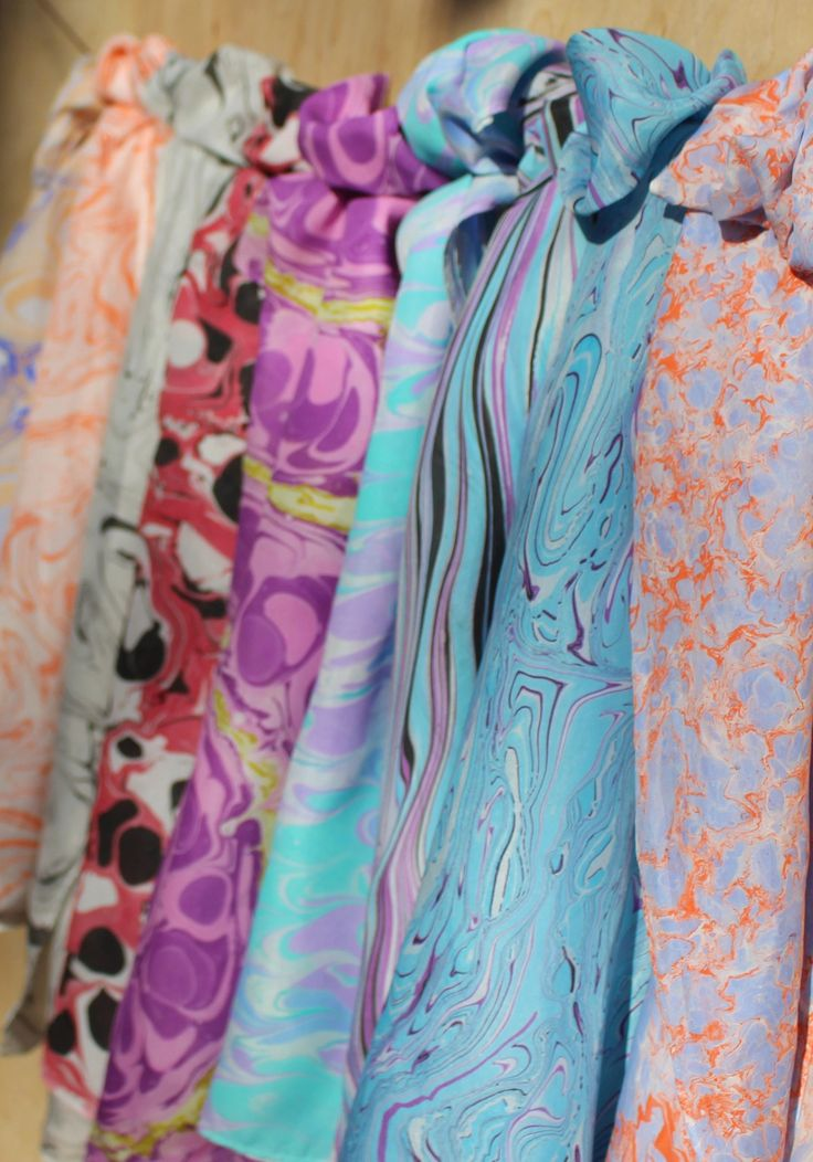 Selection of one-of-a-kind products using ebru (marbling), a Turkish art form. Ebru, marbling, fabric, marbled fabric, silk scarf