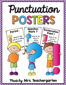 These posters can be used to remind students about the proper use of punctuation marks while writing sentences.This product includes the following:-Color AND Black and White versions of all of the punctuation posters including:*Period*Question Mark*Exclamation Point*Comma *Hyphen*Quotation Marks*Semi Colon*Colon*Parenthesis(EXTRAS)*Period words*Question words*Exclamation words