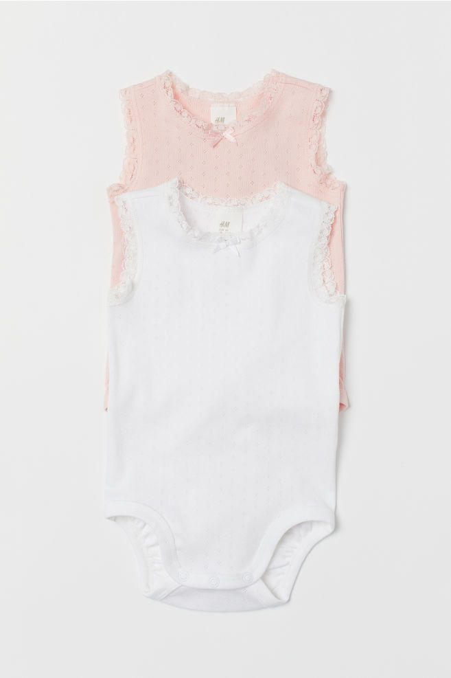 10ea0df07e6d55 H&M 2-pack Sleeveless Bodysuits - Pink | S/S Bebe | Bodysuit, Powder ...