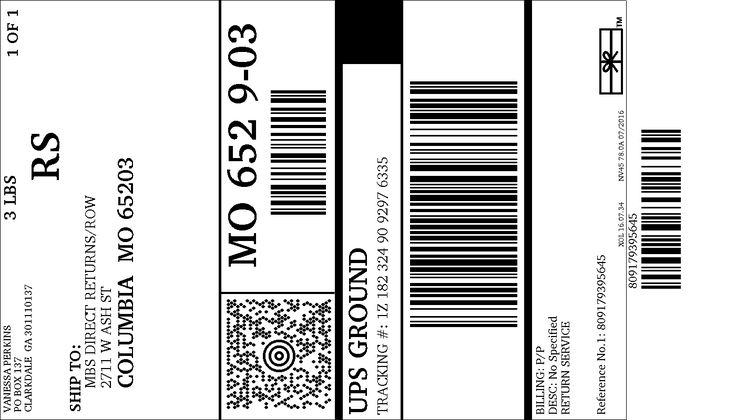 UPS shipping label for 1Z1823249092976335