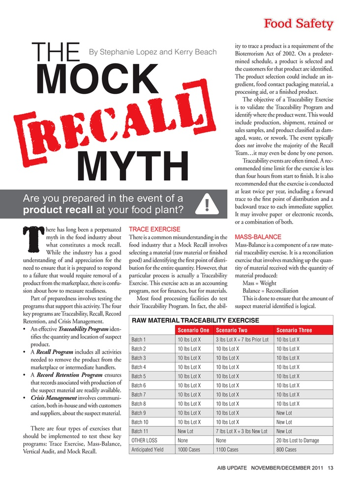 About Mock Recall Quality Assurance \ Food Safety - November - food handlers answers
