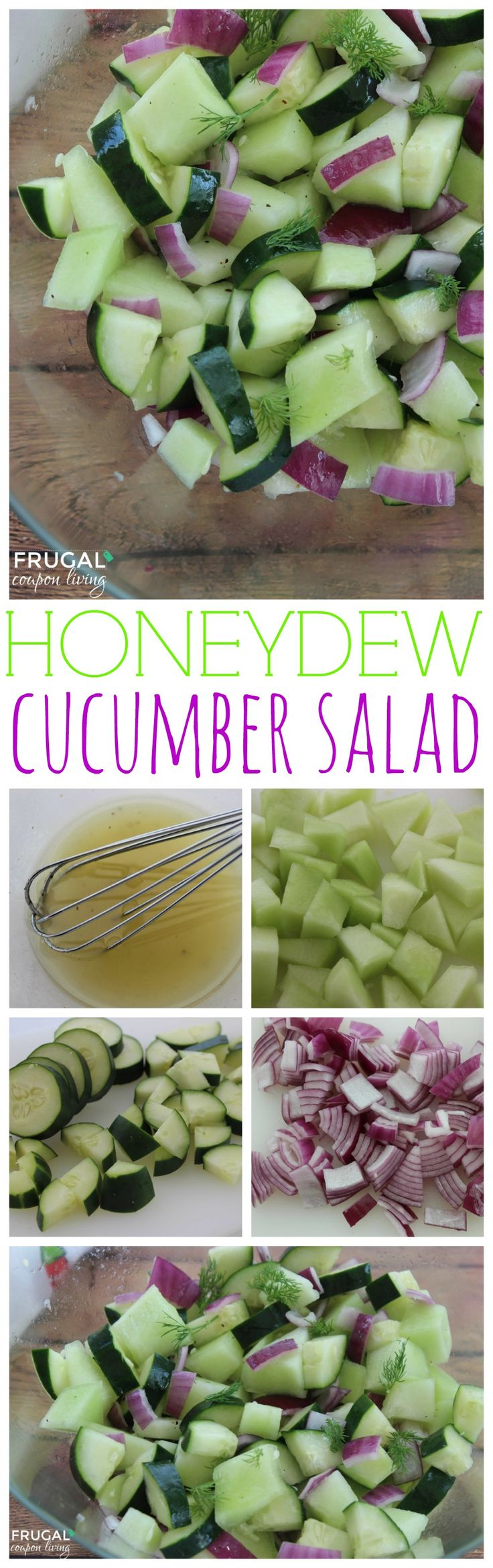 Honeydew Cucumber Salad with Homemade Dressing on Frugal Coupon LIving - Summer Salad Reicpe, Picnic Side Dish Idea.