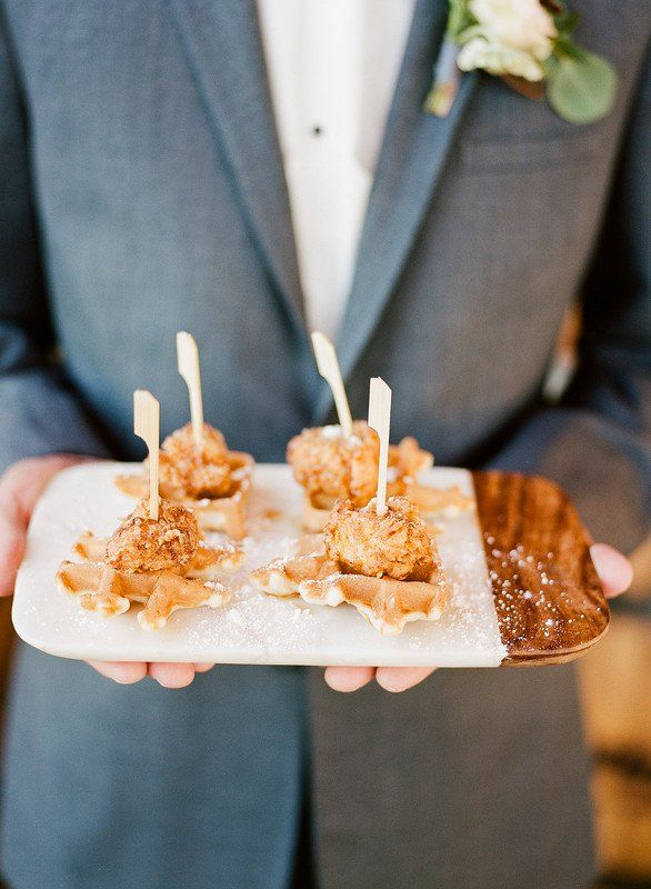 Creative Wedding Cocktail Hour Food Idea Chicken And Waffles