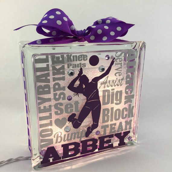 NEW Volleyball Typography GemLight by GemLights on Etsy