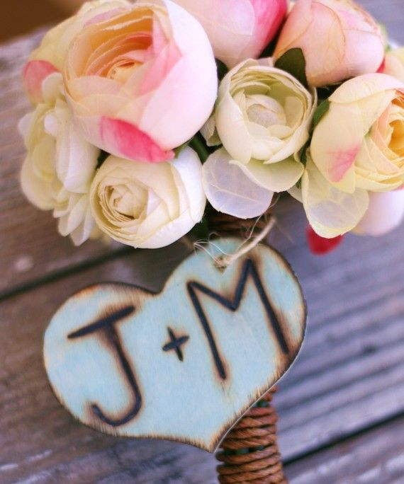 Personalized With Your Initials Wood Heart Wedding by braggingbags, $8.99