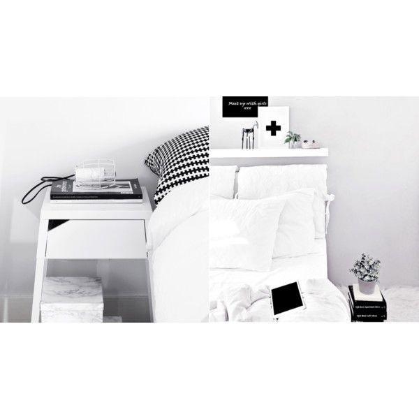#myIKEAbedroom 1.SELJE Nachtkastje wit en STOCKHOLM Kussen, zwart, wit . 2.KEA LACK wandplank en fris wit beddengoed.
